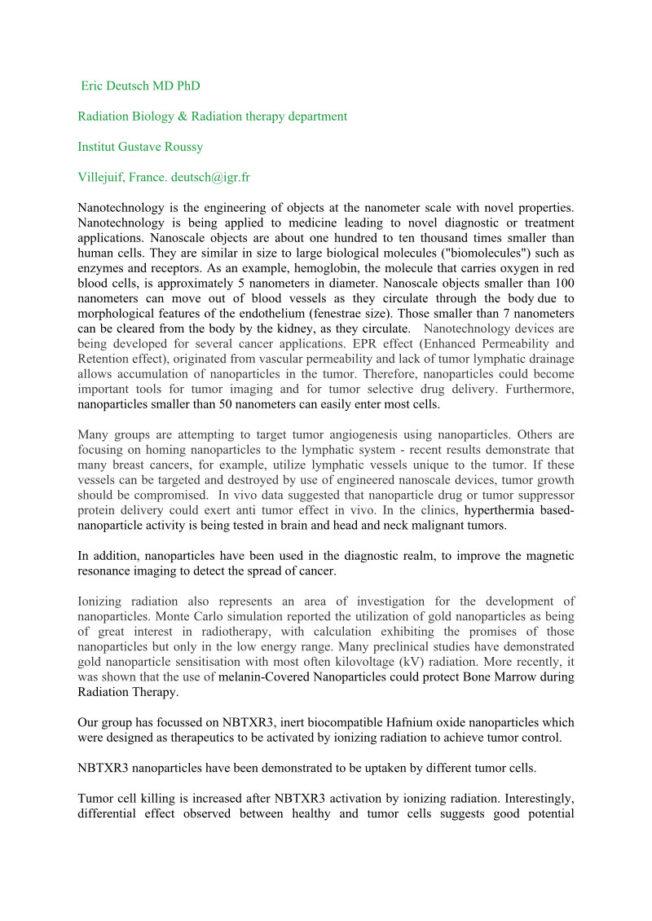 2010 – ESTRO Abstract – hafnium Oxide nanoparticles as anti cancer agent – Deutsch et al.
