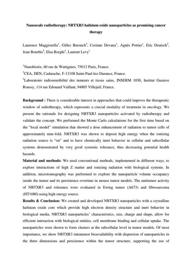 2011 – ECCO Abstract – NBTXR3 as promising cancer therapy – Magiorella et al.