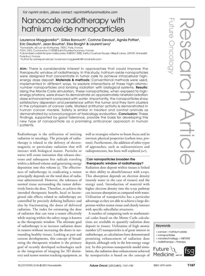 2012 – Efficacy of NBTXR3 in vitro and in vivo – Maggiorella et al.