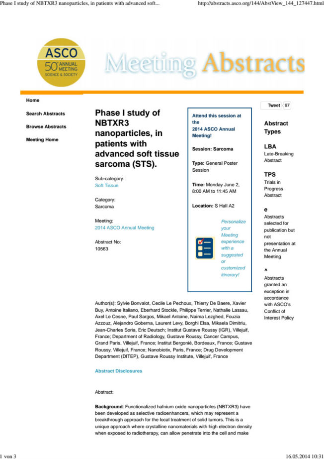 2014 – ASCO Abstract – Preliminary Data NBTXR3 Soft Tissue Sarcoma – Bonvalot et al.