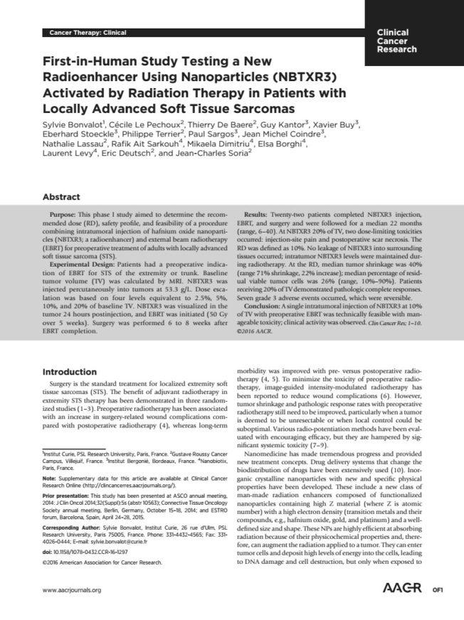 2016 – Phase I data NBTXR3 Soft Tissue Sarcoma – Bonvalot et al.