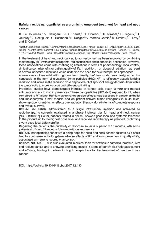 2018 – Multidisciplinary H&N – NBTXR3 for Head and Neck Cancer