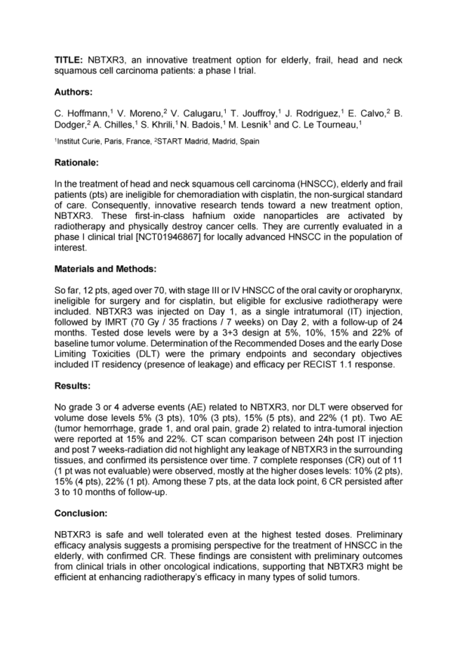 2018 – ECHNO 2018 – NBTXR3 for elderly and frail HNSCC patients