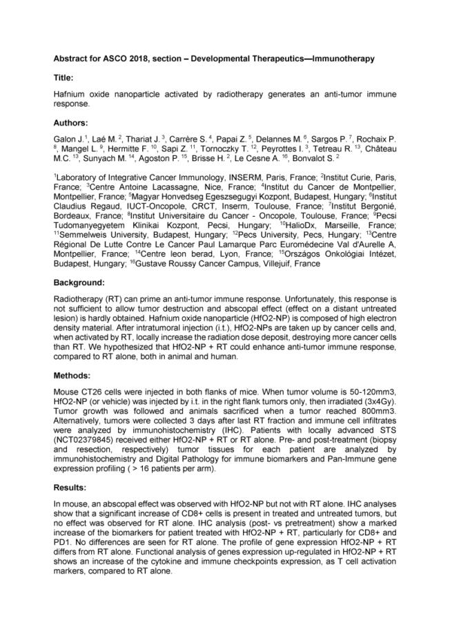 2018 – ASCO – NBTXR3 generates an anti-tumor immune response