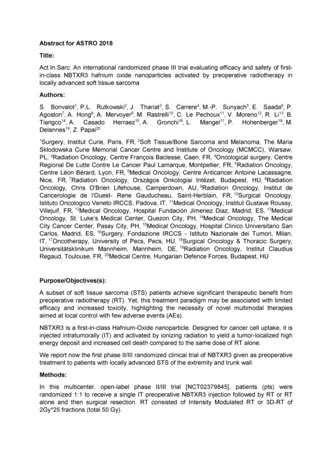 2018 – ASTRO 2018 – Phase III NBTXR3 in Soft Tissue Sarcoma