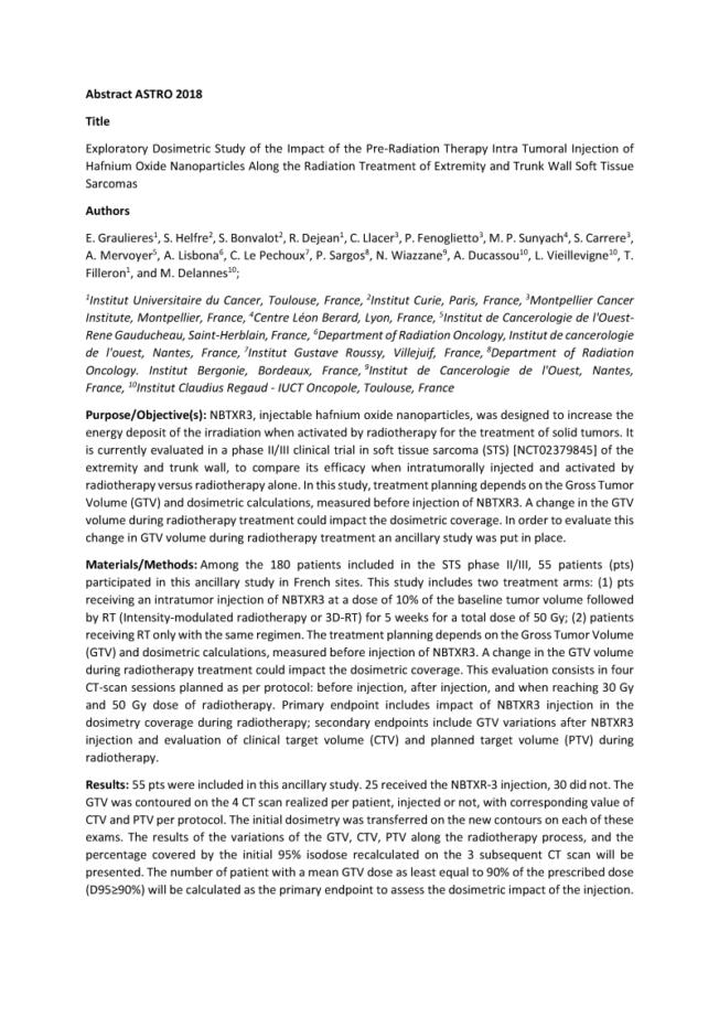 2018 – ASTRO – NBTXR3 Exploratory Dosimetric Study