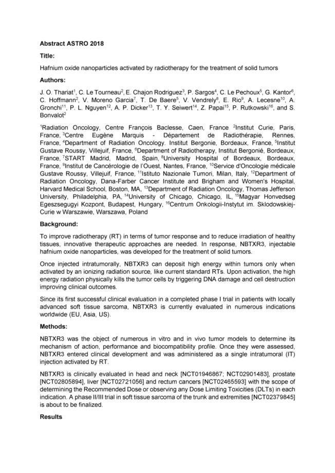 2018 – ASTRO – NBTXR3 in solid tumors