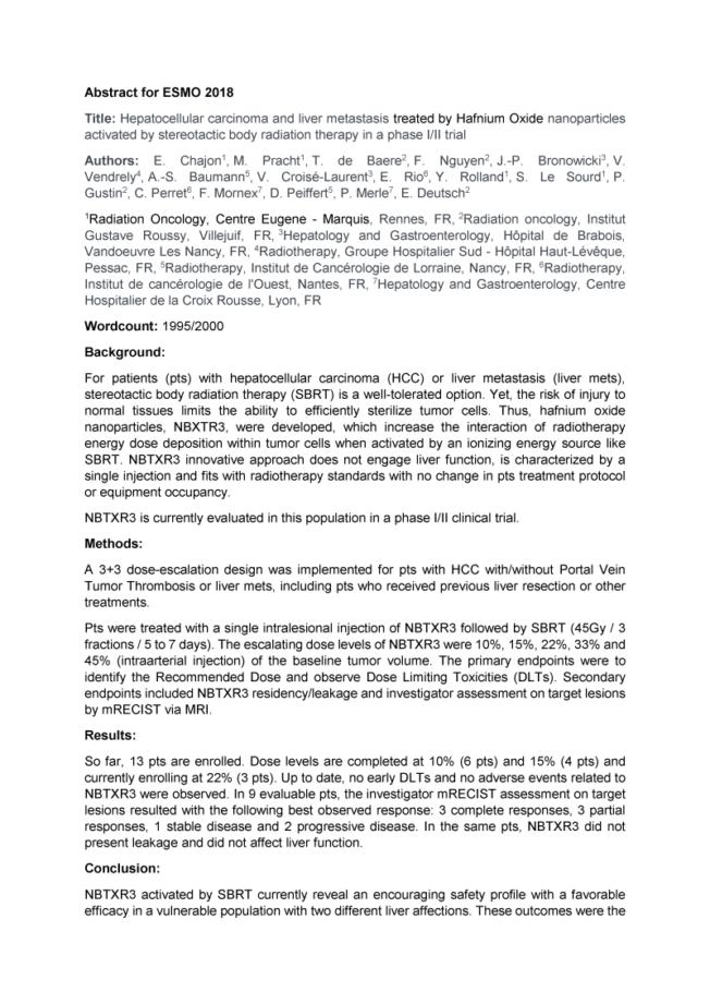 2018 – ESMO – NBTXR3 in HCC and Liver Metastasis