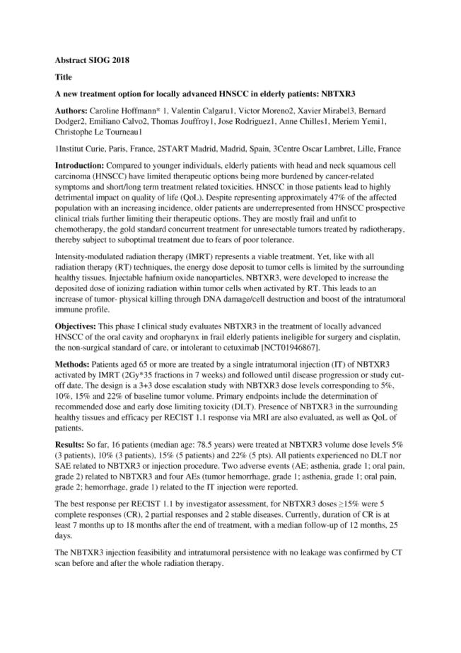 2018 – SIOG – NBTXR3 In Elderly With HNSCC