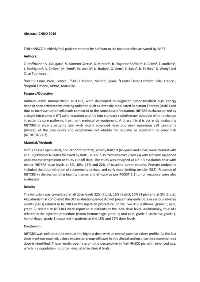 2019 – ICHNO – Phase I/II NBTXR3 in HNSCC