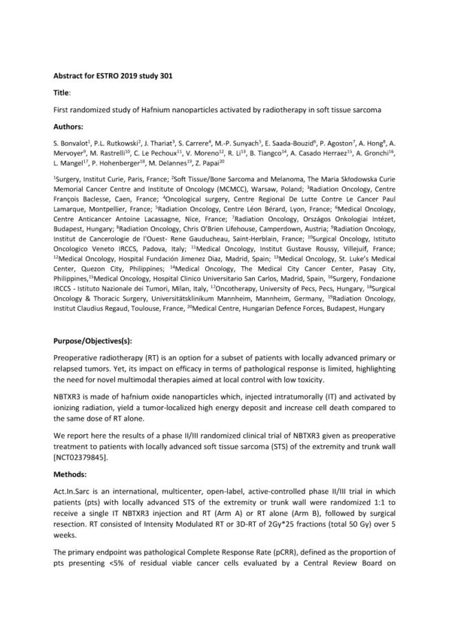2019 – ESTRO – Randomized NBTXR3 trial in STS