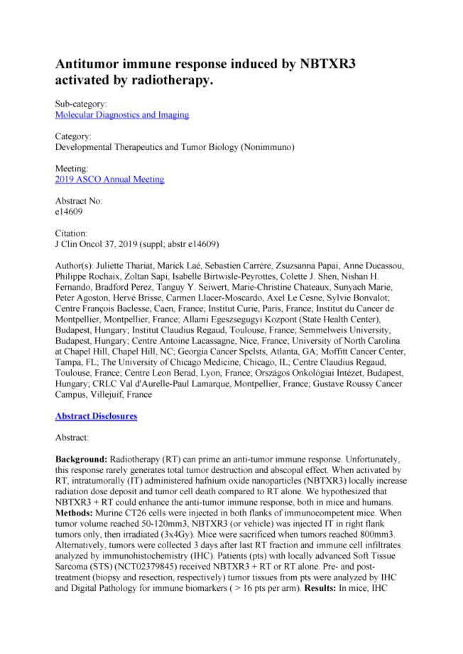 2019 – ASCO – NBTXR3 induces antitumor immune response