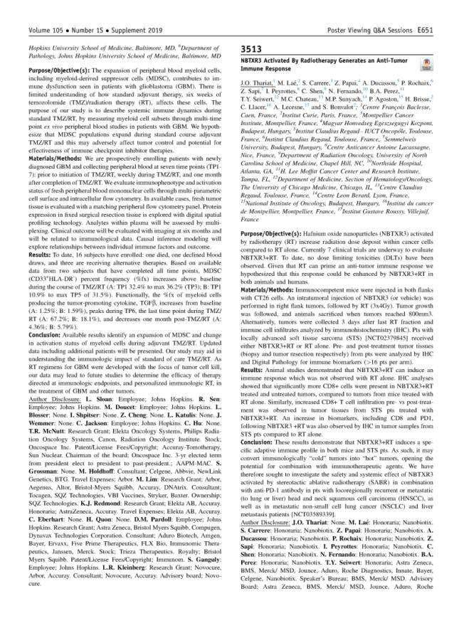 2019 – ASTRO – NBTXR3 generates an anti tumor immune response