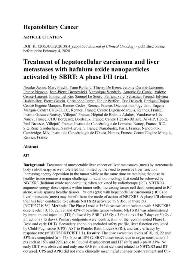 2020 – ASCO GI – Treatment of liver cancers with NBTXR3