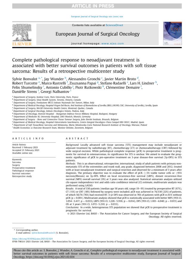 2021 – Eur J Surg Oncol – STS Retrospective Study
